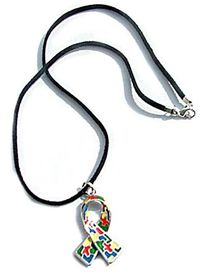 Autism Enamel Ribbon Necklace