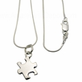 Autism Puzzle Charm Sterling Silver Necklace