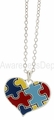 Autism Puzzle Piece Heart Pendant Necklace
