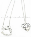 Autism Puzzle Piece Puff Heart Necklace