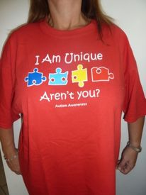 "Autism Shirt Adult Red ""I'm Unique"""