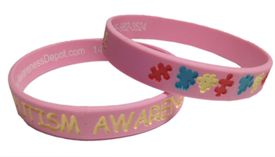 Pink Autism Awareness Rubber Bracelet - Youth Size