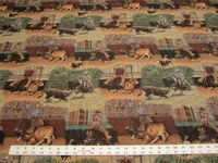 2 7/8 yards of Cutting horse rodeo cowboy tapestry upholstery fabric