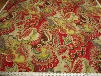 5 1/8 yards of Richloom Teak Cardinal cotton print drapery fabric