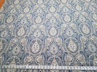 5 3/8 yards of Kravet blue and yellow gold paisley upholstery fabric