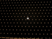 6 1/4 yards of black with stars upholstery fabric