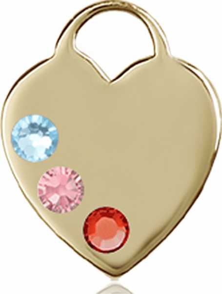 14kt Gold Charm Swarovski Crystal Multi-Color Heart Pendant by Bliss