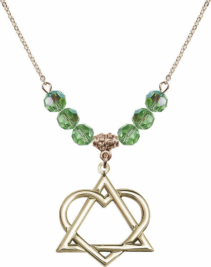 14kt Gold-filled Adoption Heart Sterling August Peridot Swarovski Crystal Beaded Necklace by Bliss Mfg
