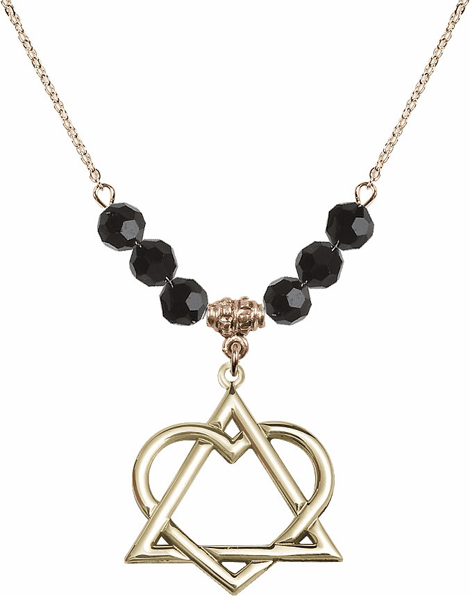 14kt Gold-filled Adoption Heart Sterling Black Jet Swarovski Crystal Beaded Necklace by Bliss Mfg