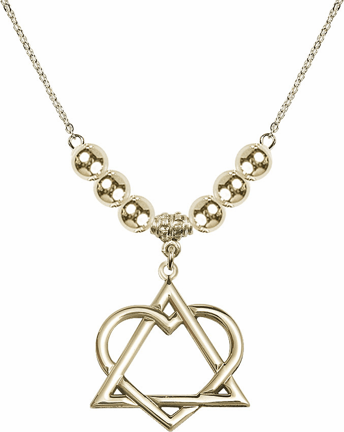 14kt Gold-filled Adoption Heart Sterling Charm w/Silver Beads Necklace by Bliss Mfg