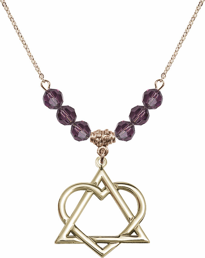 14kt Gold-filled Adoption Heart Sterling February Amethyst Swarovski Crystal Beaded Necklace by Bliss Mfg