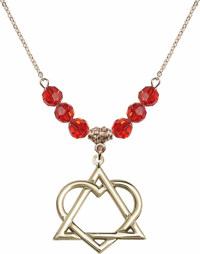 14kt Gold-filled Adoption Heart Sterling July Ruby Swarovski Crystal Beaded Necklace by Bliss Mfg