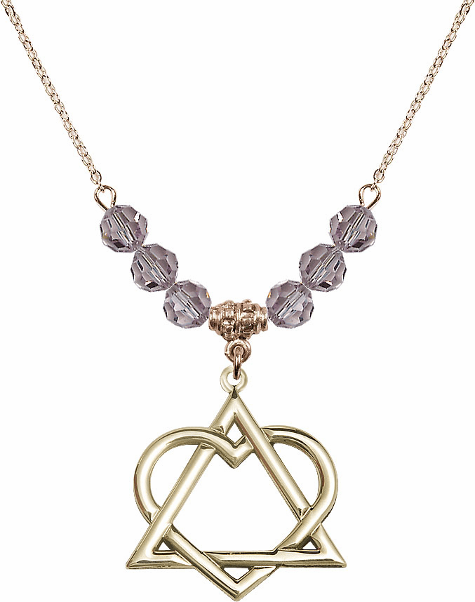 14kt Gold-filled Adoption Heart Sterling June Lt Amethyst Swarovski Crystal Beaded Necklace by Bliss Mfg
