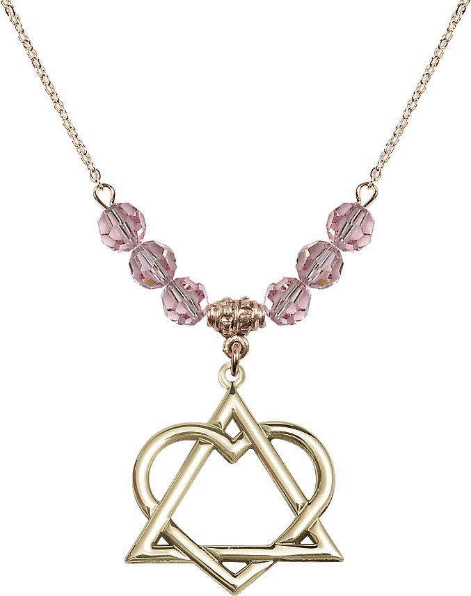 14kt Gold-filled Adoption Heart Sterling Lt Rose Swarovski Crystal Beaded Necklace by Bliss Mfg