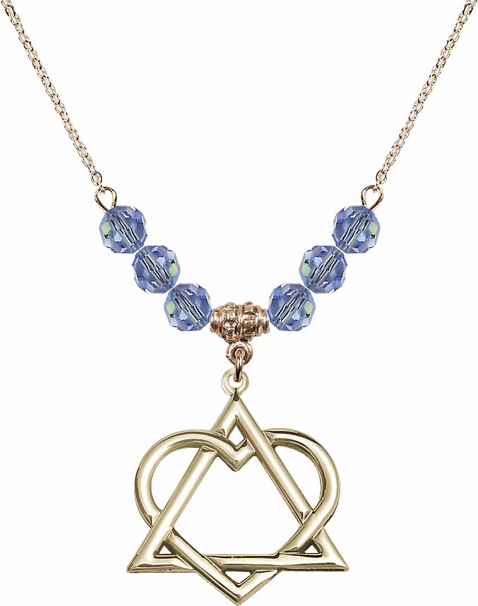 14kt Gold-filled Adoption Heart Sterling Lt Sapphire Swarovski Crystal Beaded Necklace by Bliss Mfg