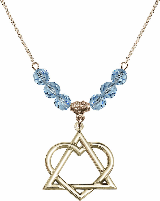 14kt Gold-filled Adoption Heart Sterling March Aqua Swarovski Crystal Beaded Necklace by Bliss Mfg