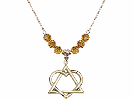 14kt Gold-filled Adoption Heart Sterling November Topaz Swarovski Crystal Beaded Necklace by Bliss Mfg