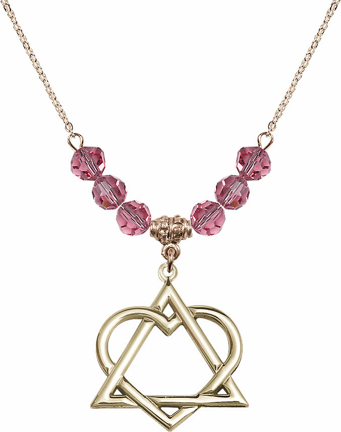 14kt Gold-filled Adoption Heart Sterling October Rose Swarovski Crystal Beaded Necklace by Bliss Mfg
