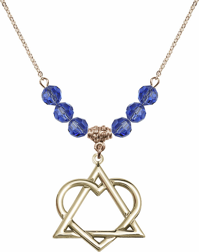 14kt Gold-filled Adoption Heart Sterling September Sapphire Swarovski Crystal Beaded Necklace by Bliss Mfg
