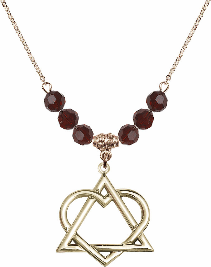 14kt Gold-filled Adoption Heart Swarovski Crystal Beaded Necklace by Bliss Mfg