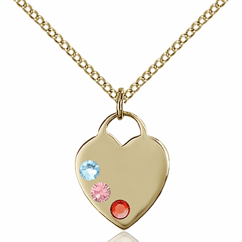 14kt Gold-filled Charm Swarovski Crystal Multi-Color Heart Necklace by Bliss