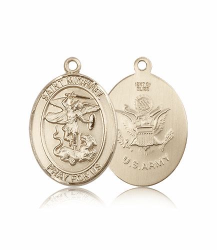 14kt Gold St Michael the Archangel Army Saint Medals