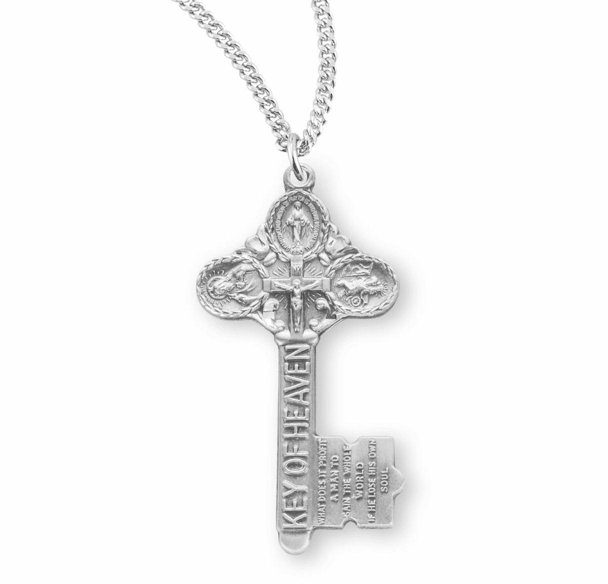 3-Way Key of Heaven Sterling Cross Medal Necklace by HMH Religious