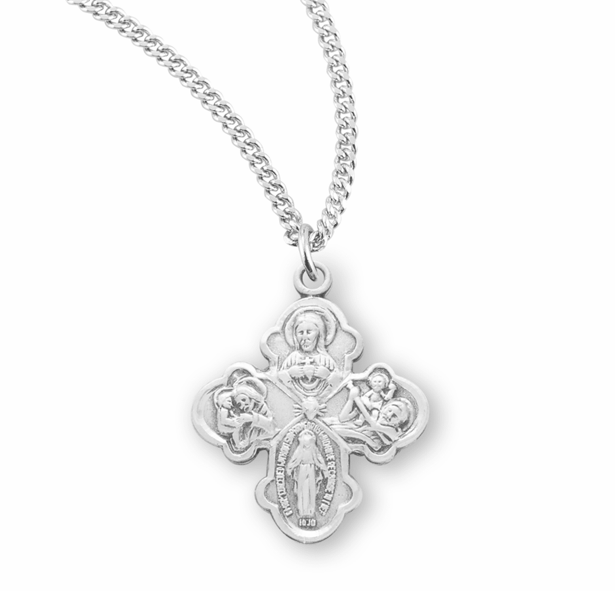 4-Way Cross Medal Necklace w/Sacred Heart Center by HMH Religious