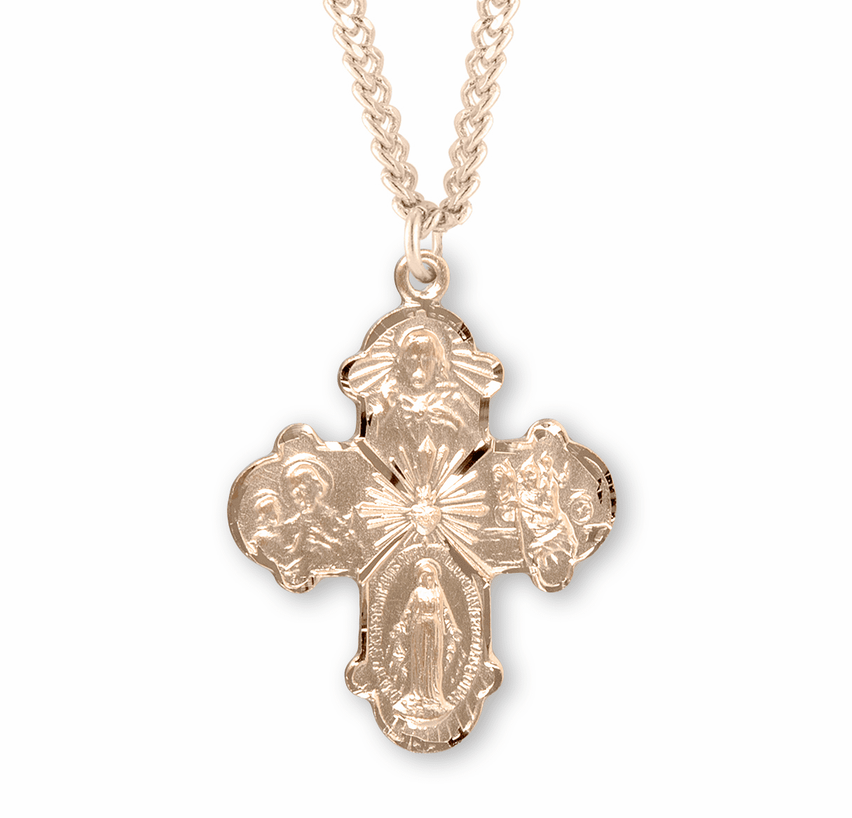 4-Way Gold/Sterling Cross Medal Necklace w/Sacred Heart Center by HMH Religious