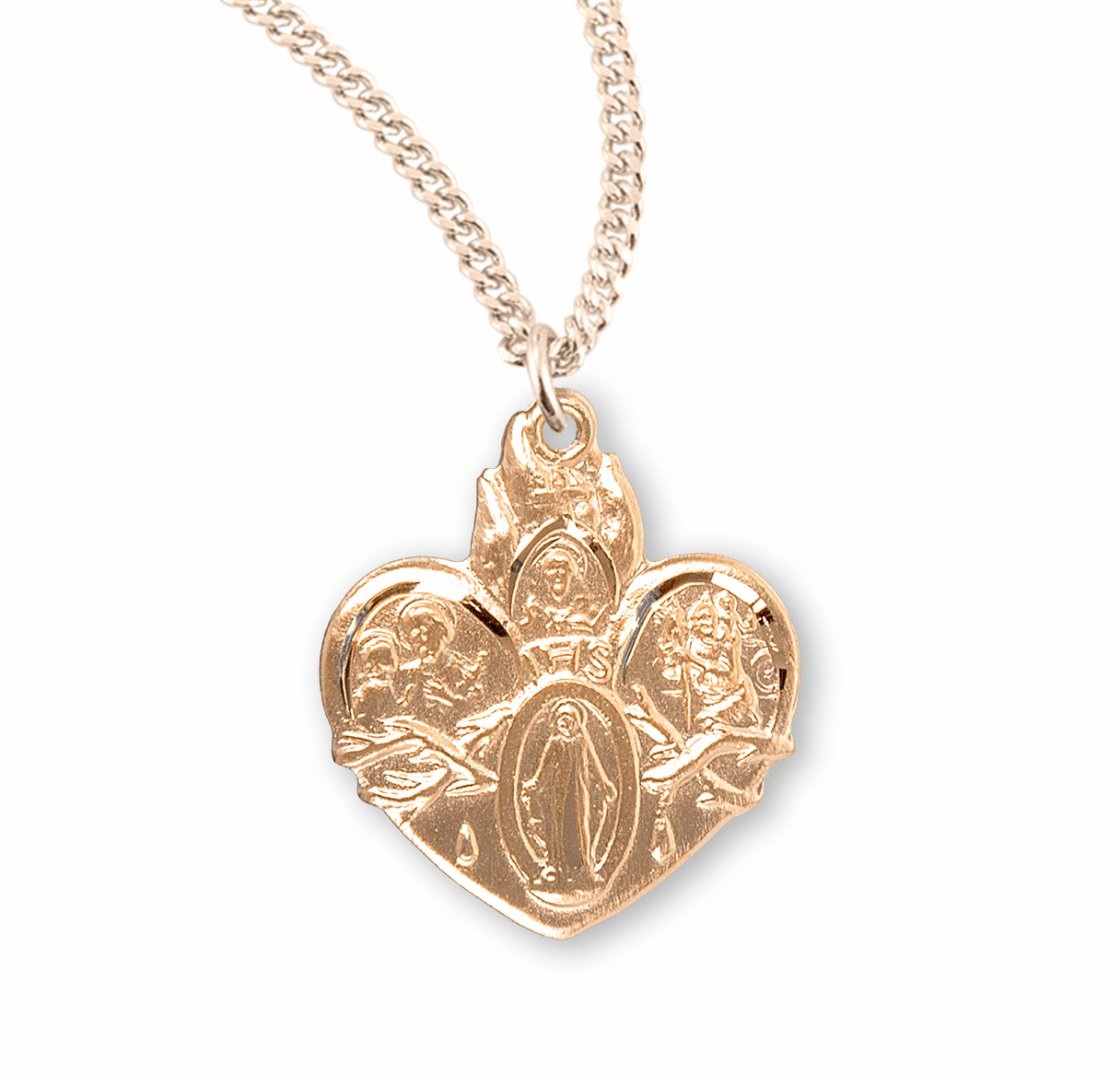 4-Way Sacred Heart of Jesus Gold/Sterling Necklace by HMH Religious