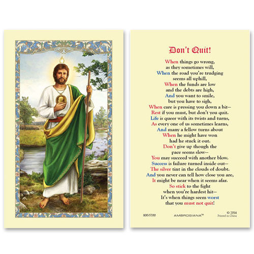 ddf4bad1cf6 Gerffert Saint Jude Don't Quit Holy Prayer Card 25pkg Gift Set