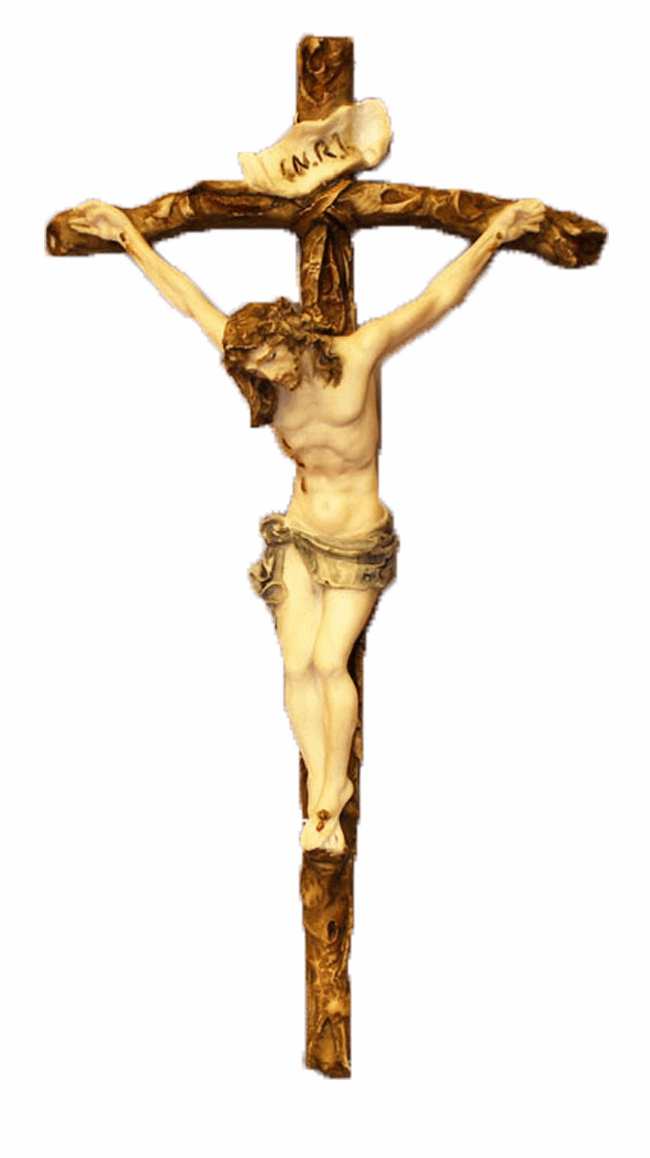 Ado Santin Hand Painted Alabaster Crucifix Wall Cross