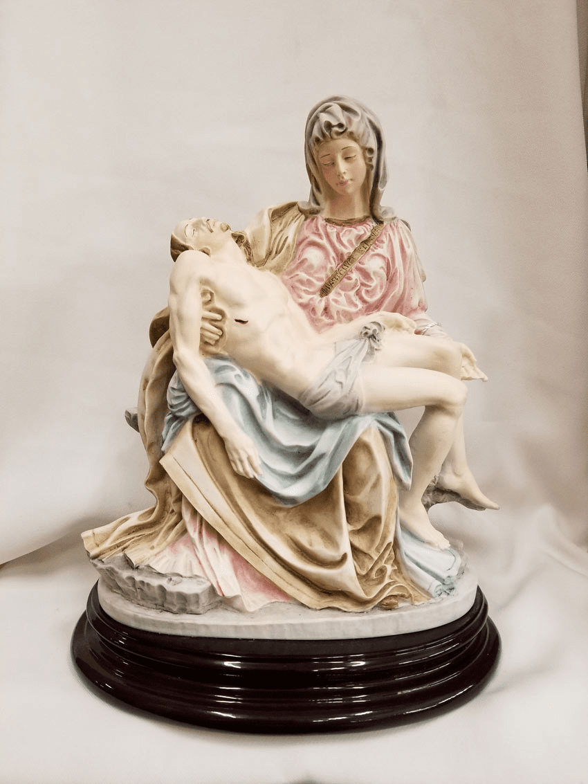 Ado Santin Pieta Hand Painted Alabaster Statue on Wood Base