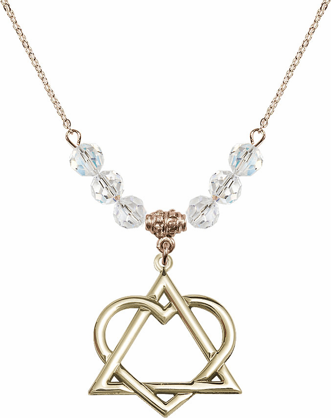 Adoption Heart 14kt Gold-filled April Swarovski Crystal Beaded Necklace by Bliss Mfg