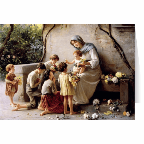 Adoration Mary & Jesus with Children by Guiseppe Magni Christmas Cards