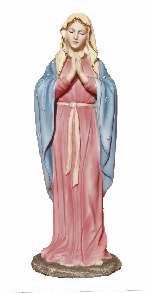 Adoring Virgin Mary Hand-Painted Resin Statue by Veronese Collection