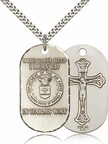 Air Force Crucifix Dog Tag Medal Necklace