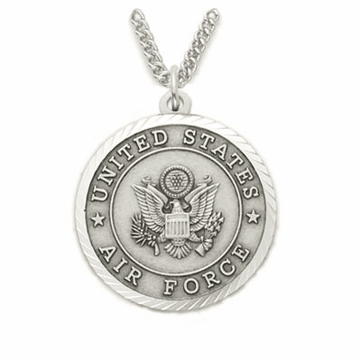 Air Force Men's Sterling Medal w/Christian Cross Necklace by Singer