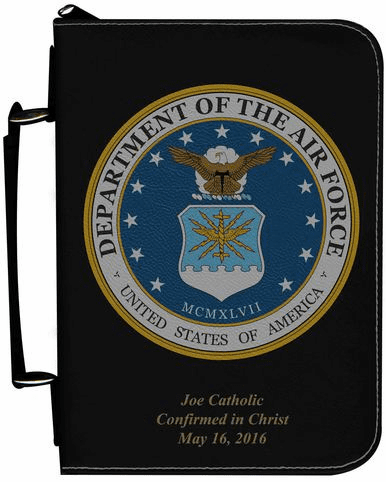 Air Force Military Personalized Black Catholic Bible Cover Case