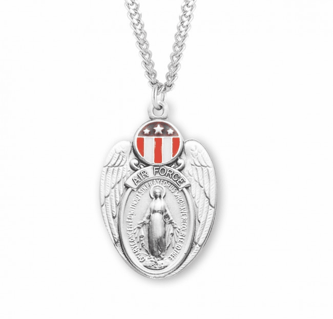 Air Force Shield Miraculous Medal Red, White and Blue Medal Necklace by HMH Religious