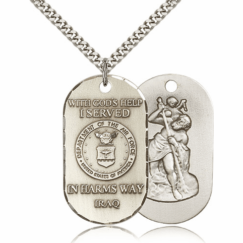 Air Force St. Christopher Dog Tag Iraq Medal Necklace