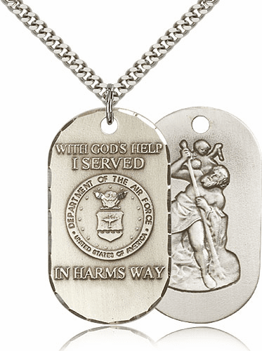 Air Force St Christopher Dog Tag Medal Necklace