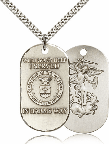 Air Force St Michael Dog Tag Medal Necklace