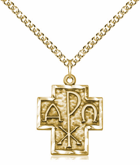 Alpha and Omega 14kt Gold-filled Medal Necklace with Chain by Bliss