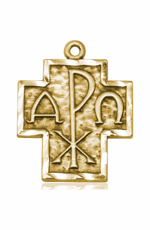 Alpha and Omega 14kt Solid Gold Medal Pendant by Bliss