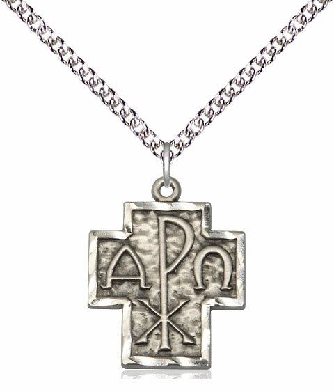 Alpha and Omega Sterling Silver Medal Necklace with Chain by Bliss