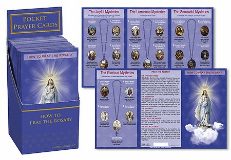 Ambrosiana How to Pray the Holy Rosary 48ct Pocket Cards with Display