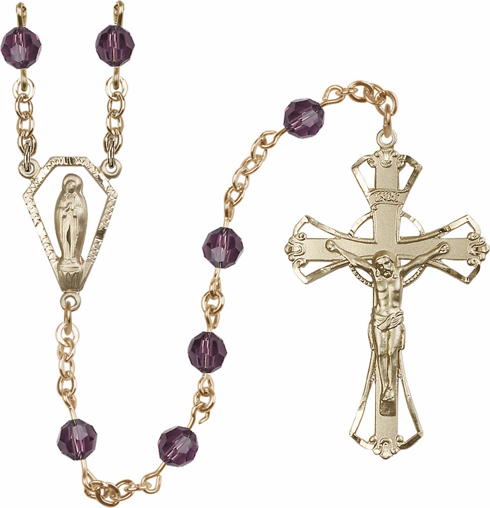 Amethyst 6mm AB Swarovski 14kt Gold Praying Madonna Prayer Rosary by Bliss