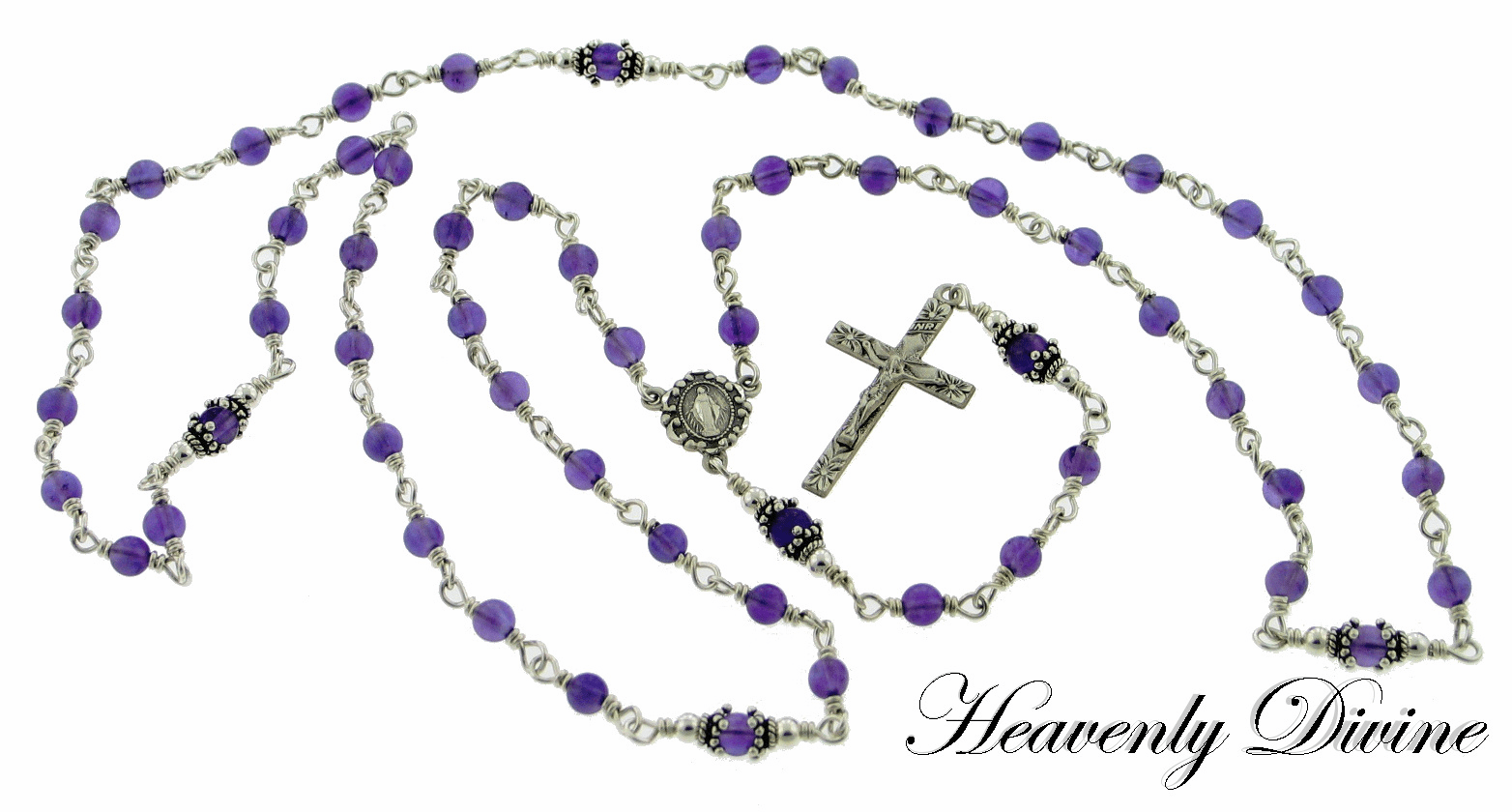 Amethyst Sterling Silver Wire Wrapped Catholic Rosary Necklace by Heavenly Divine