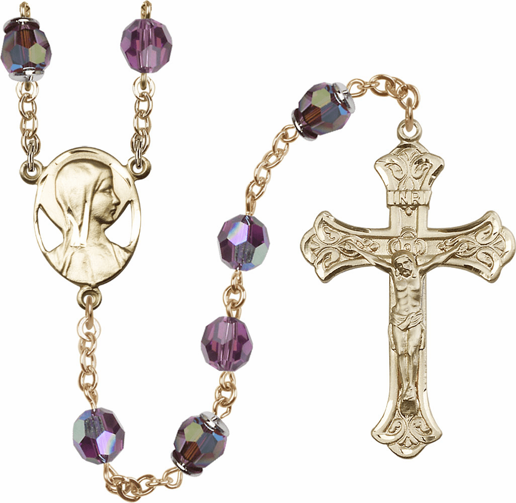 Amethyst Swarovski 8mm Aurora Borealis Crystal 14kt Gold Rosary by Bliss